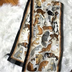 "Accessories - Terriart Various Cats ""Here Kitty""  Scarf Vintage"